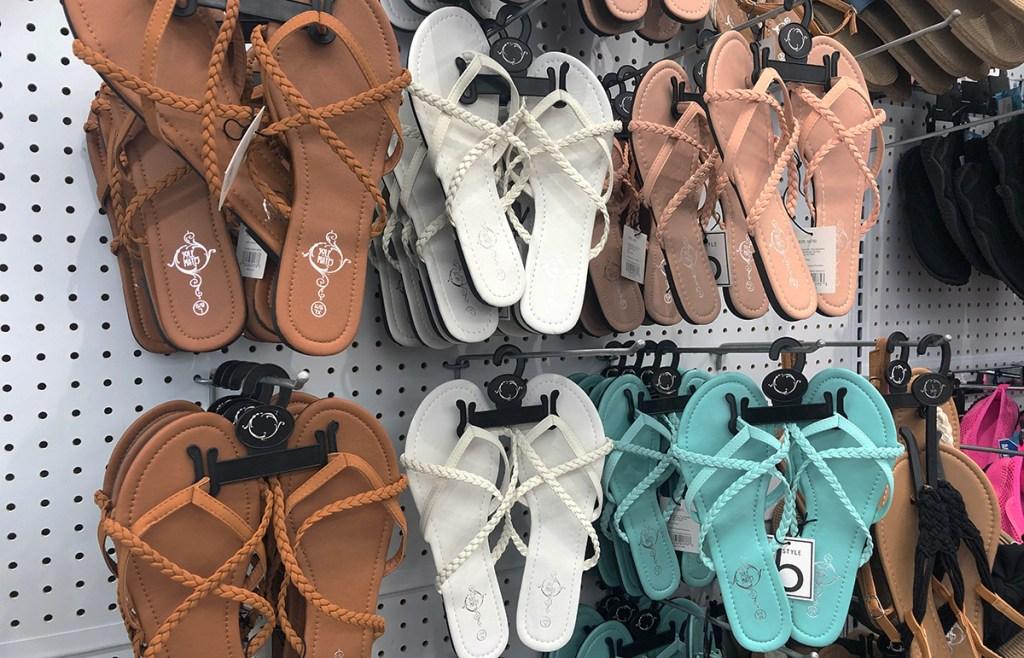 cheap flip flops — five below braided sandals selection