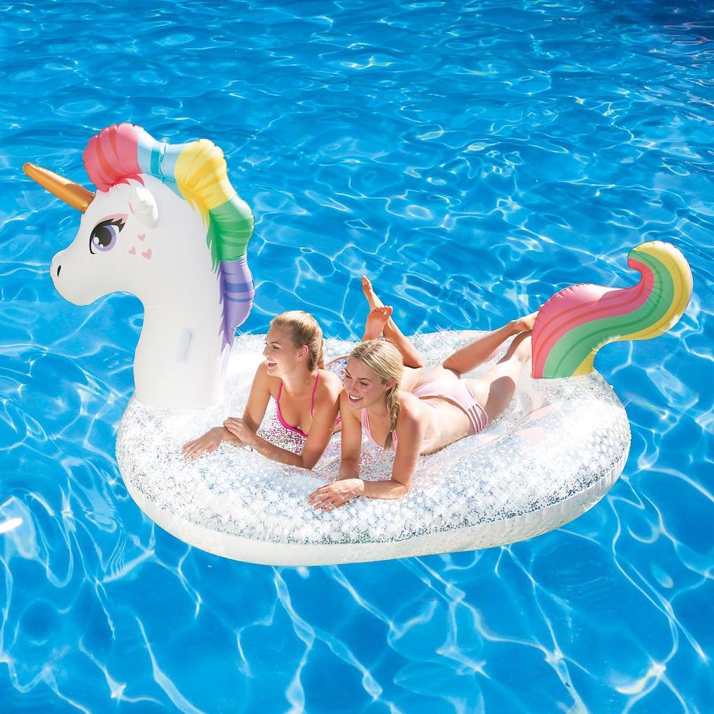 floating on unicorn pool float