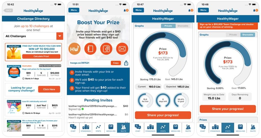 screenshots of healthy wage app on ios