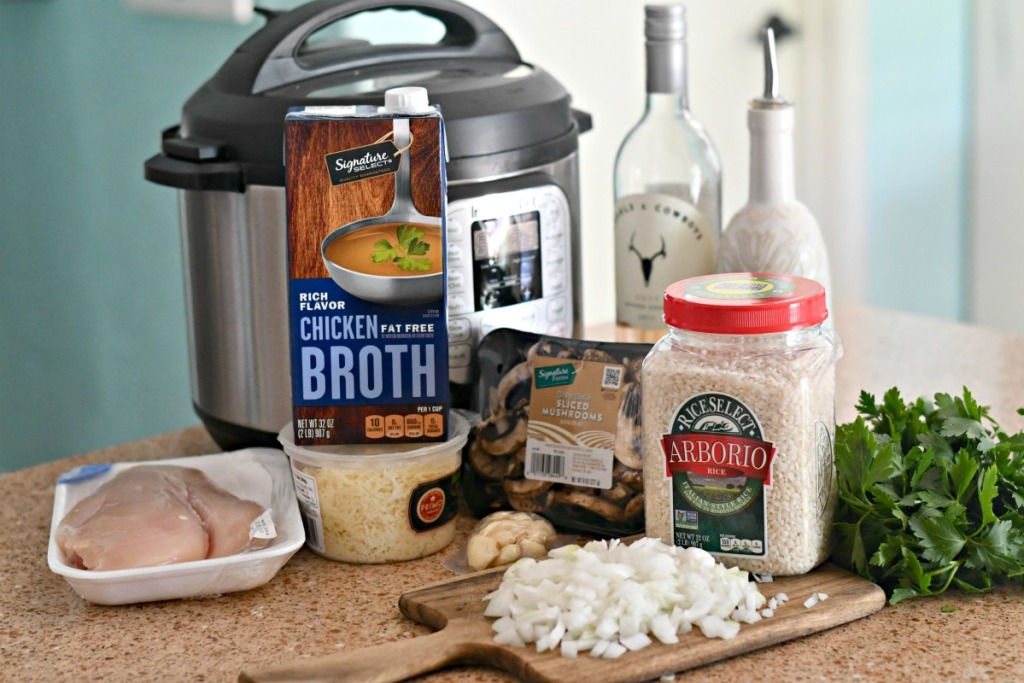 ingredients for instant pot chicken risotto on the counter