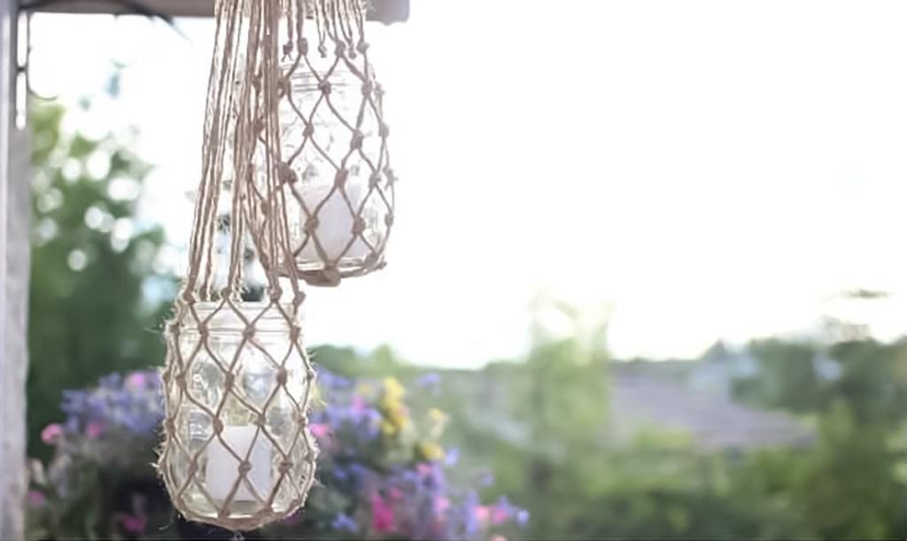 hanging jute string lantern diy