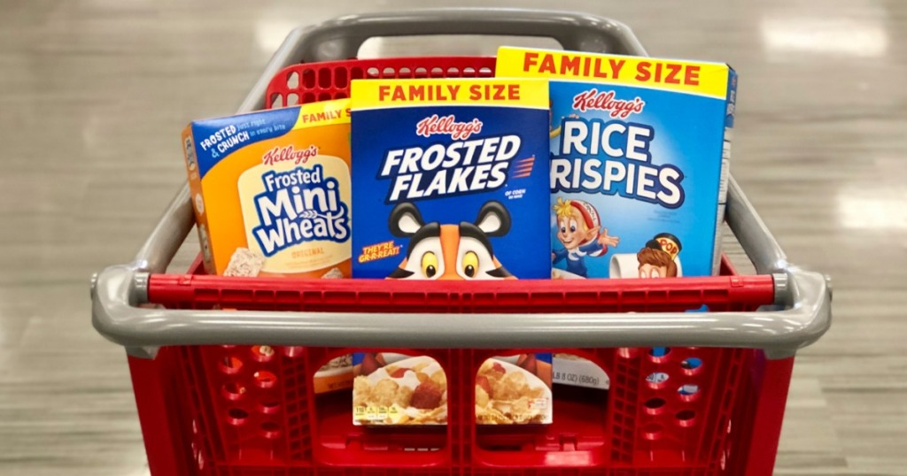 kellogg's mini wheats frosted flakes and rice krispies in Target cart