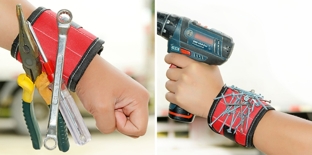 magnetic wristband holding tools and screws
