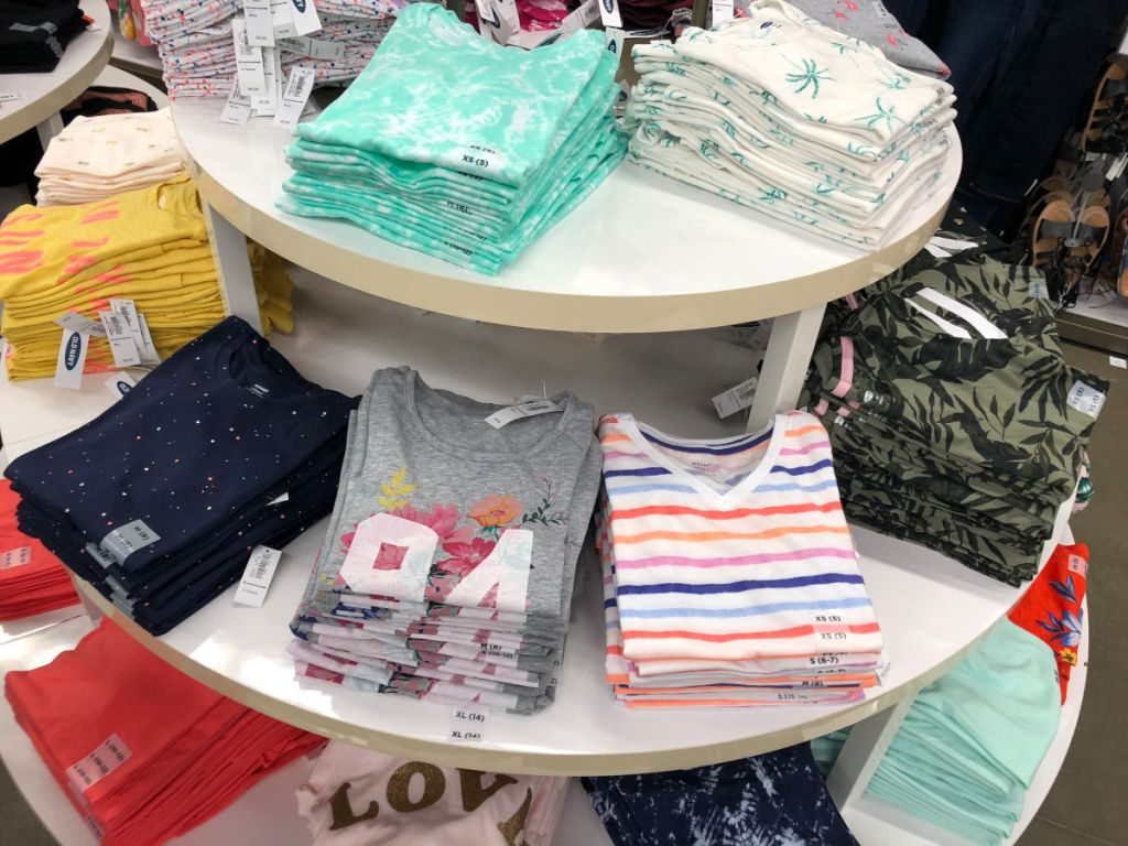 Old Navy girl's tees on table