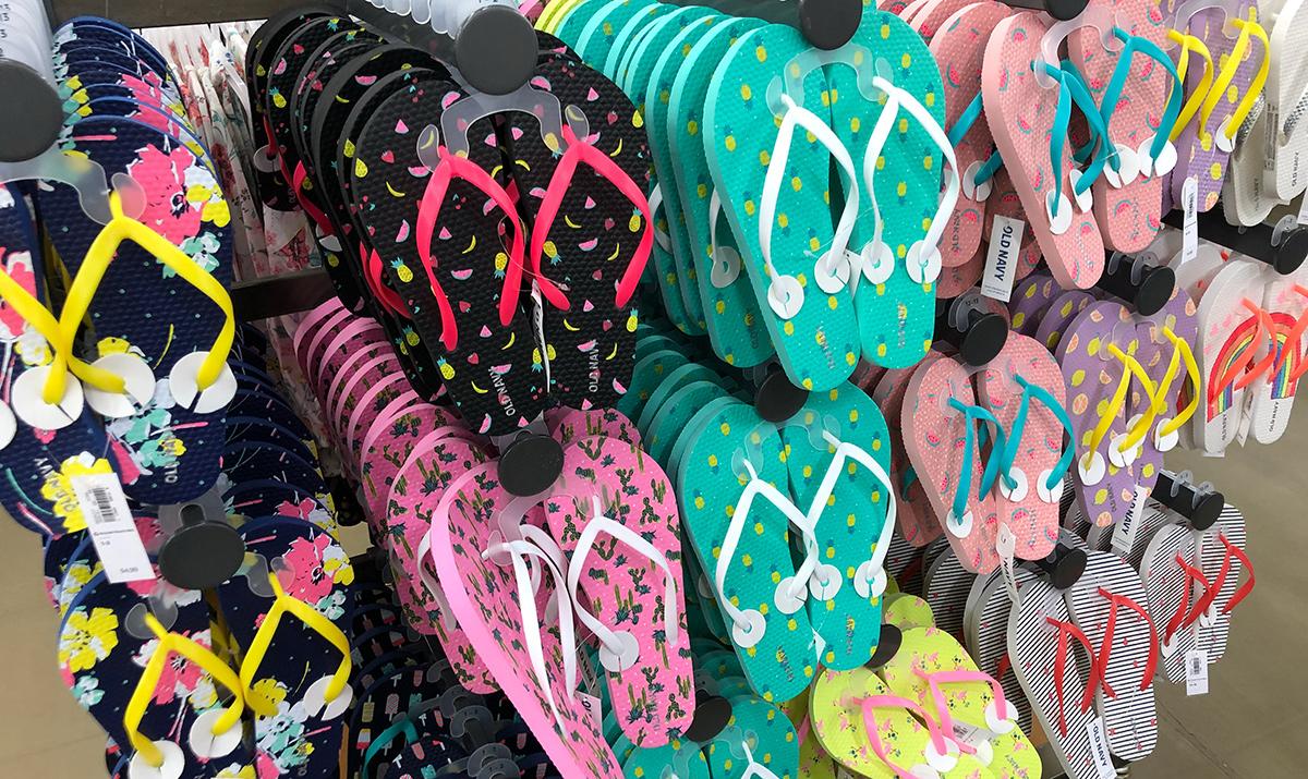 cheap flip flops — old navy pattern flip flops