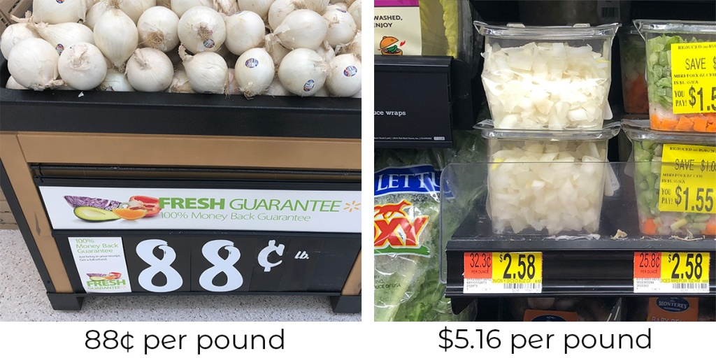 price of whole onion compared to chopped onions