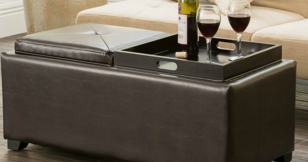 Large double tray ottoman with wine