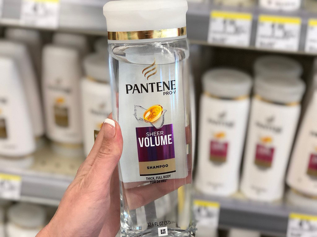 clear pantene held in hand