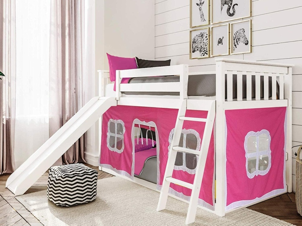 pink bunk bed with slide