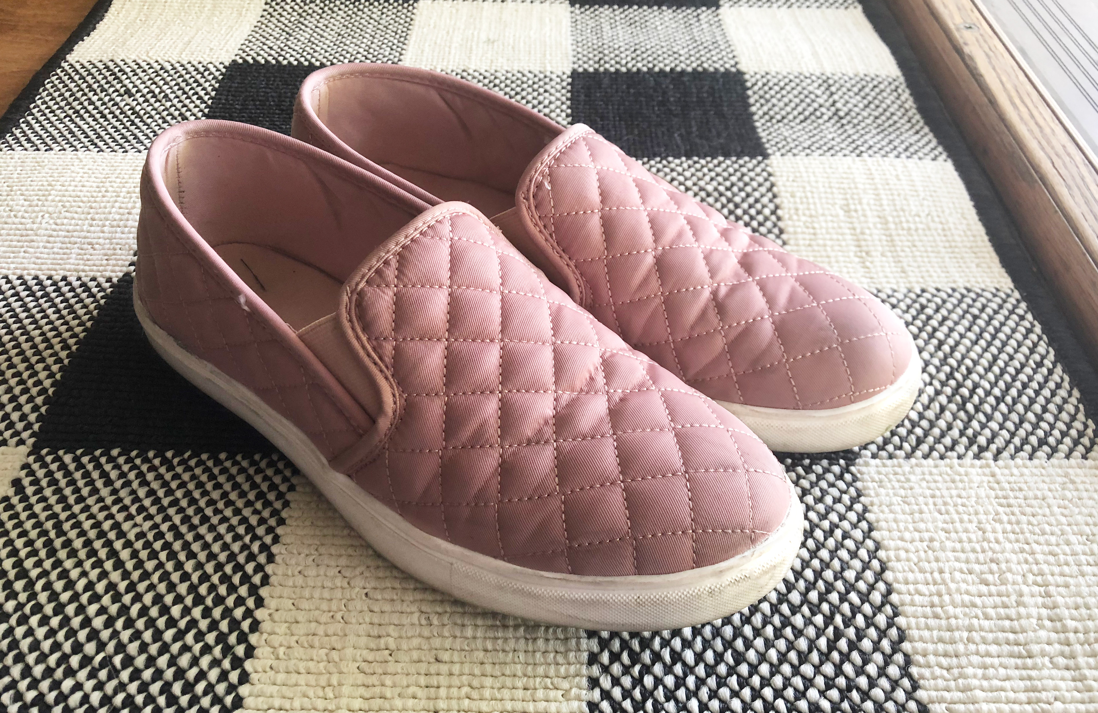 walmart shoes — pink quilted slip on sneakers