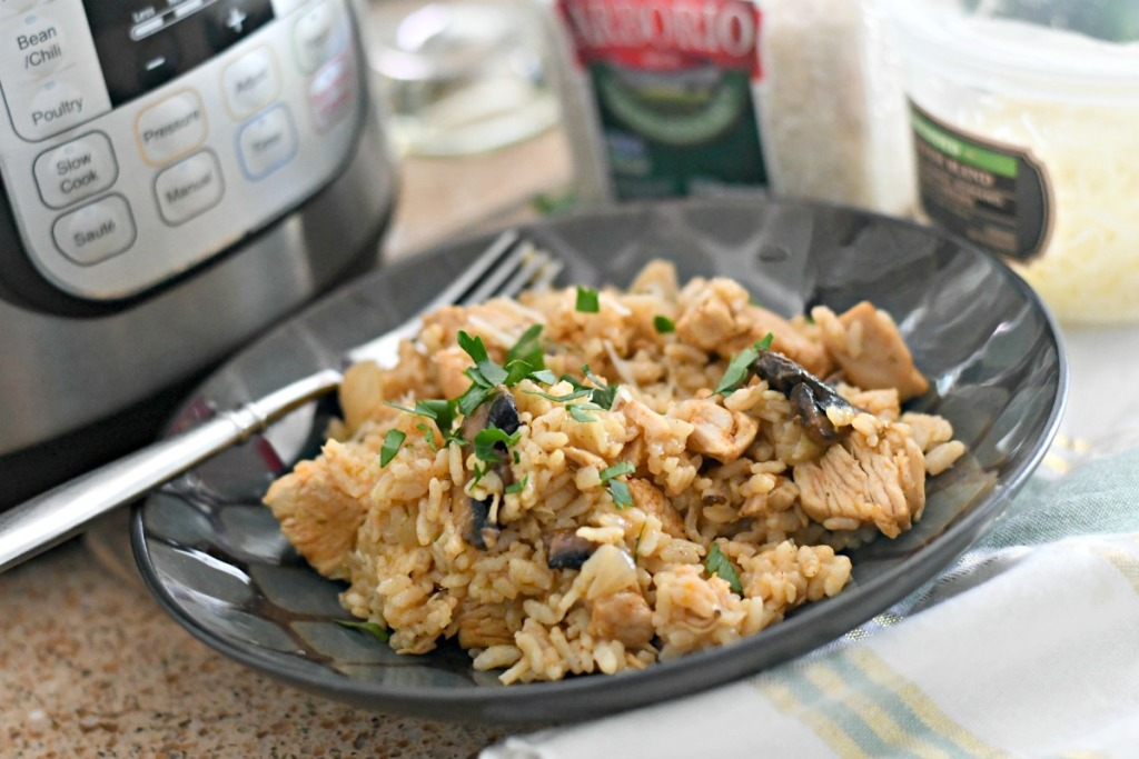 plate of instant pot chicken risotto