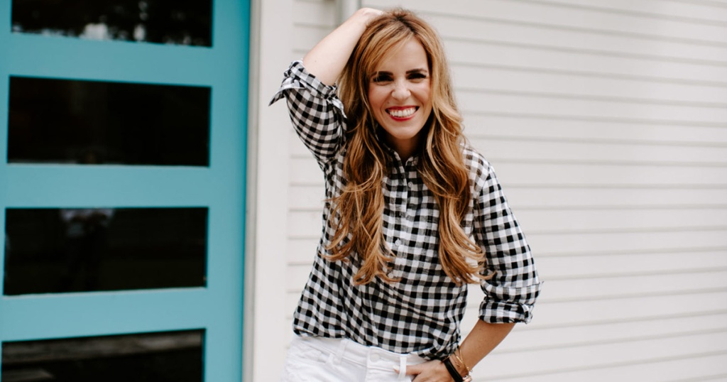 rachel hollis wearing button-up blouse from her qvc collection