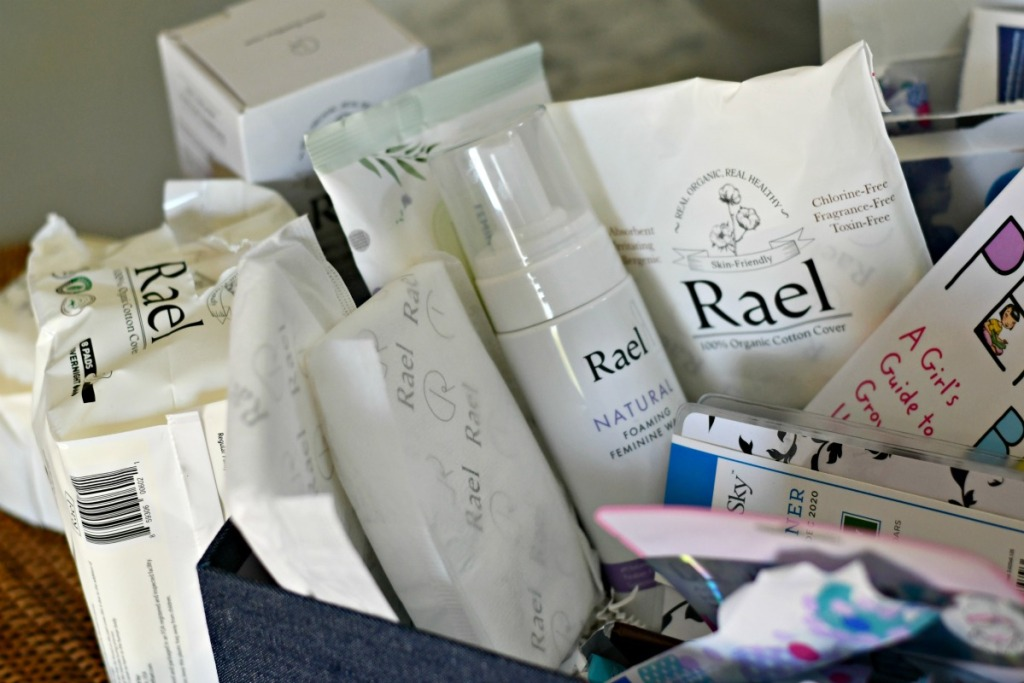 easy diy box of first period supplies using Rael brand products