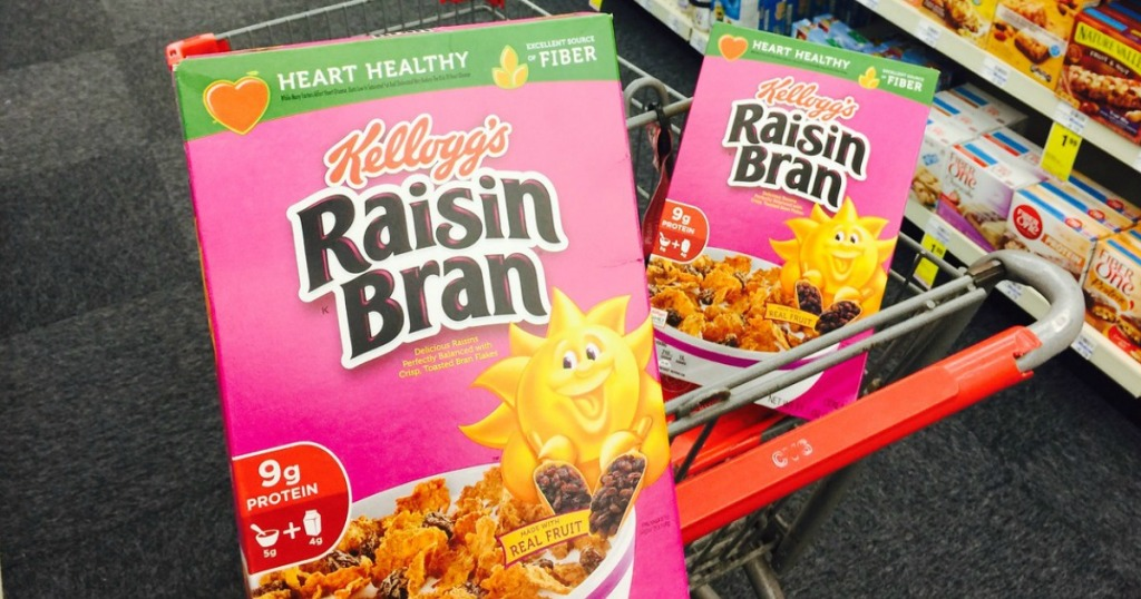 two boxes of Kellogg's Raisin Bran by CVS cart