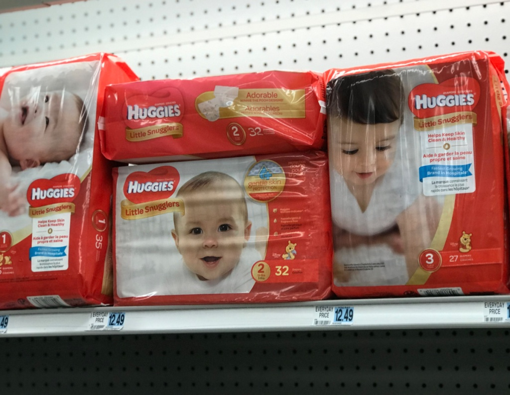 Huggies Jumbo Pack diapers on Rite Aid shelf