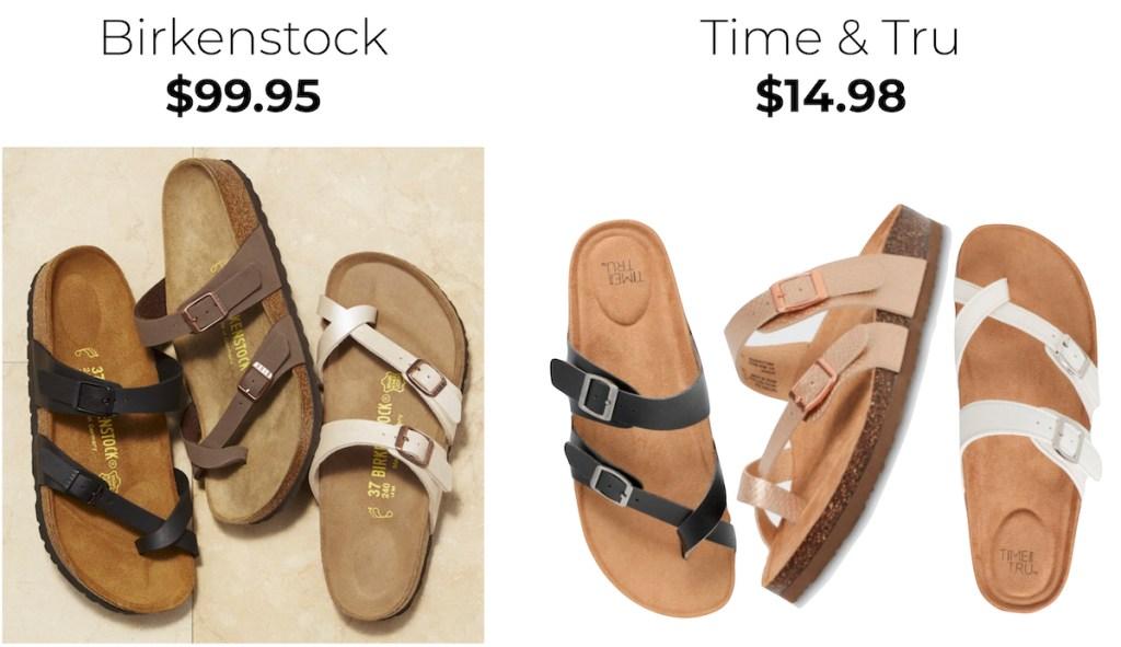 comparison between birkenstock and time and tru sandals