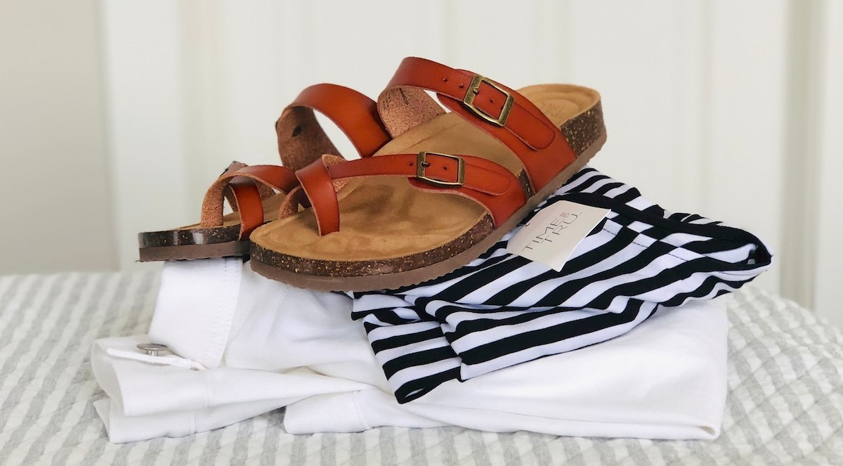 Walmart fashion items brown sandals on striped dress and white jacket
