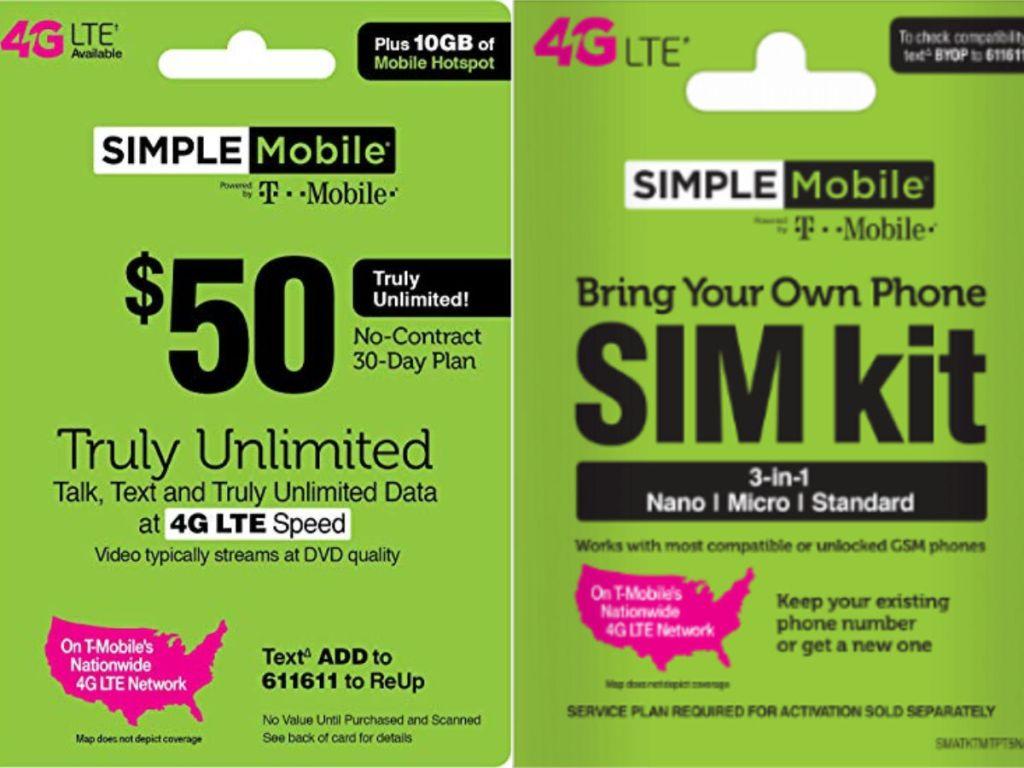 Motorola Smart Phone, $50 Simple Mobile Prepaid Card & SIM