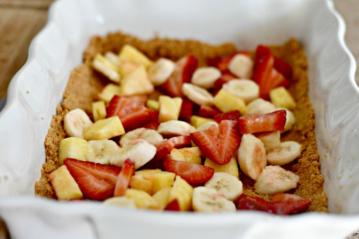 graham cracker crust dessert with fruit layer