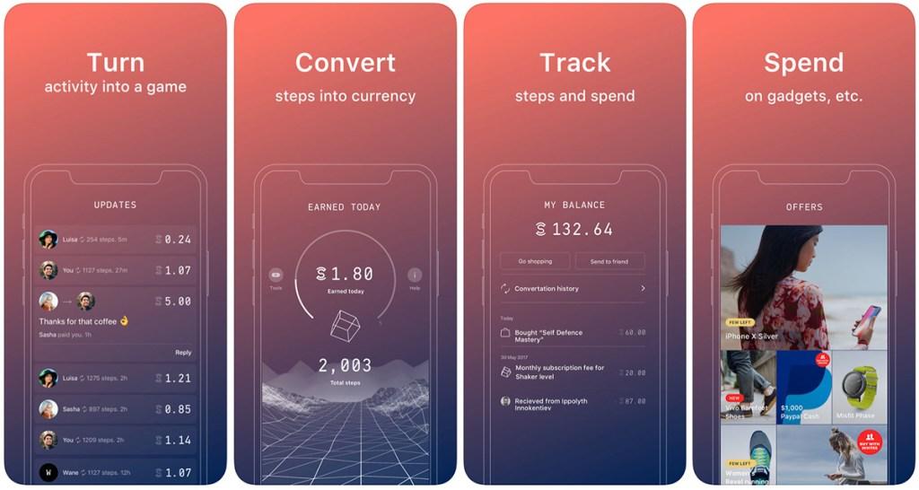 screenshots of sweatcoin app on ios