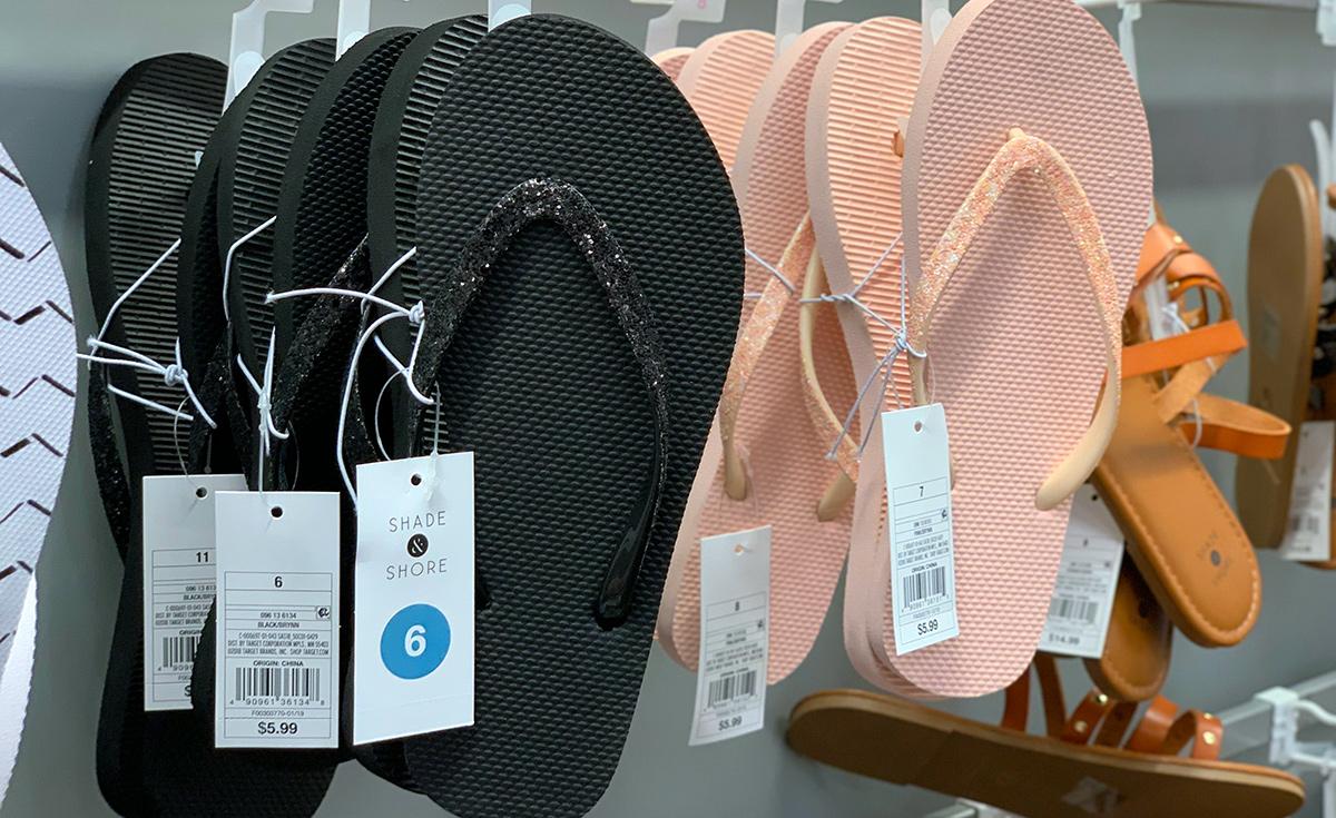 cheap flip flops — shade and shore flip flops from target