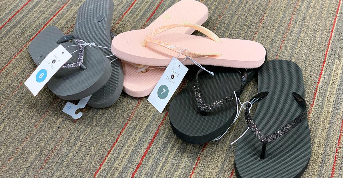 cheap flip flops — shade and shore glitter flip flops from target