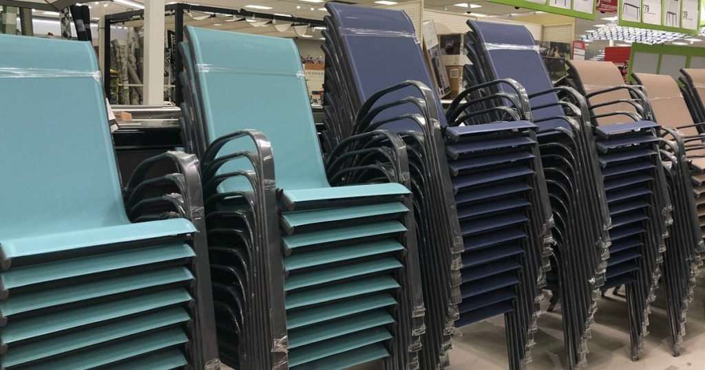 stack of blue chairs
