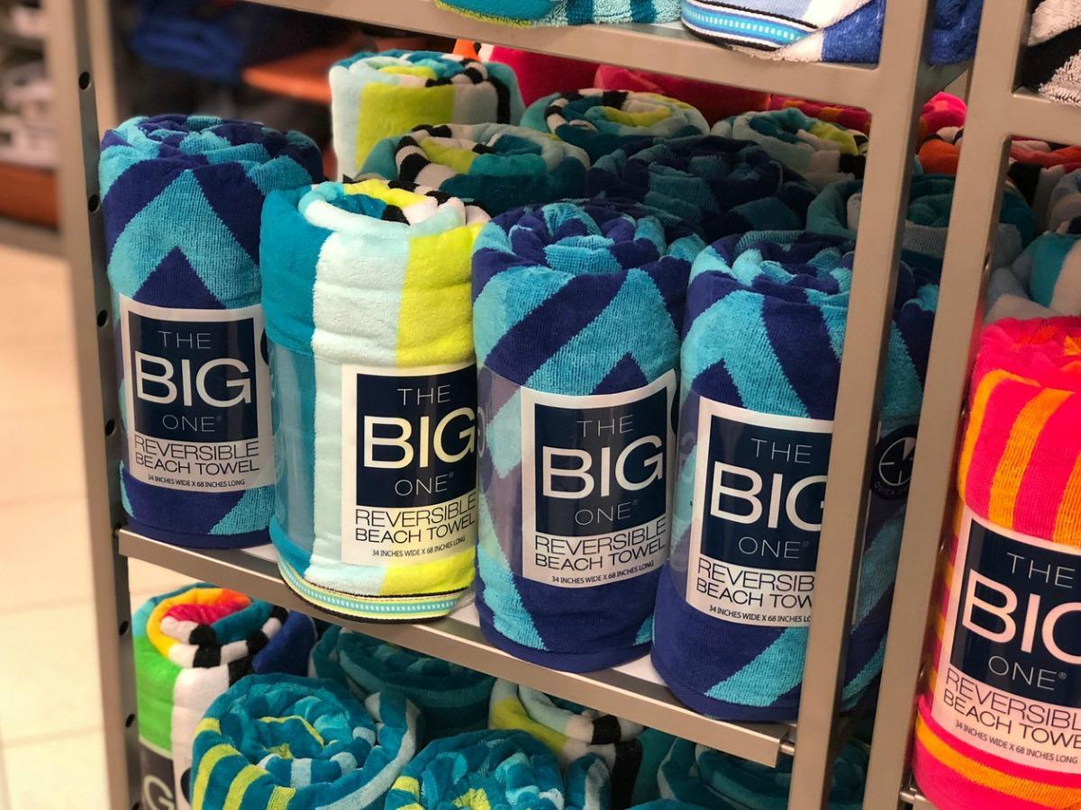 The Big One Beach Towels on shelf in Kohl's