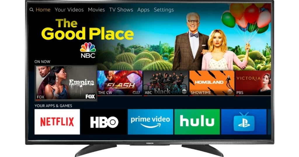 Toshiba smart tv tuned into the good place