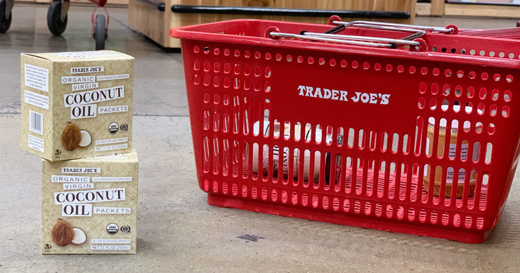 trader joes coconut oil packets next to shopping basket