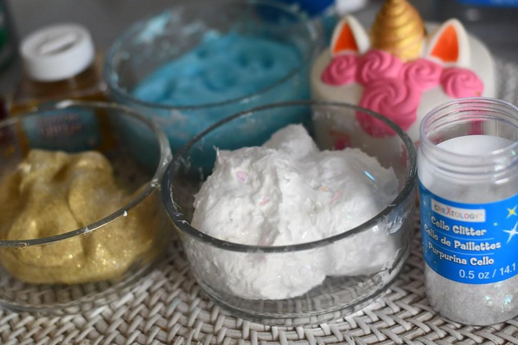 unicorn slime split into smaller bowls