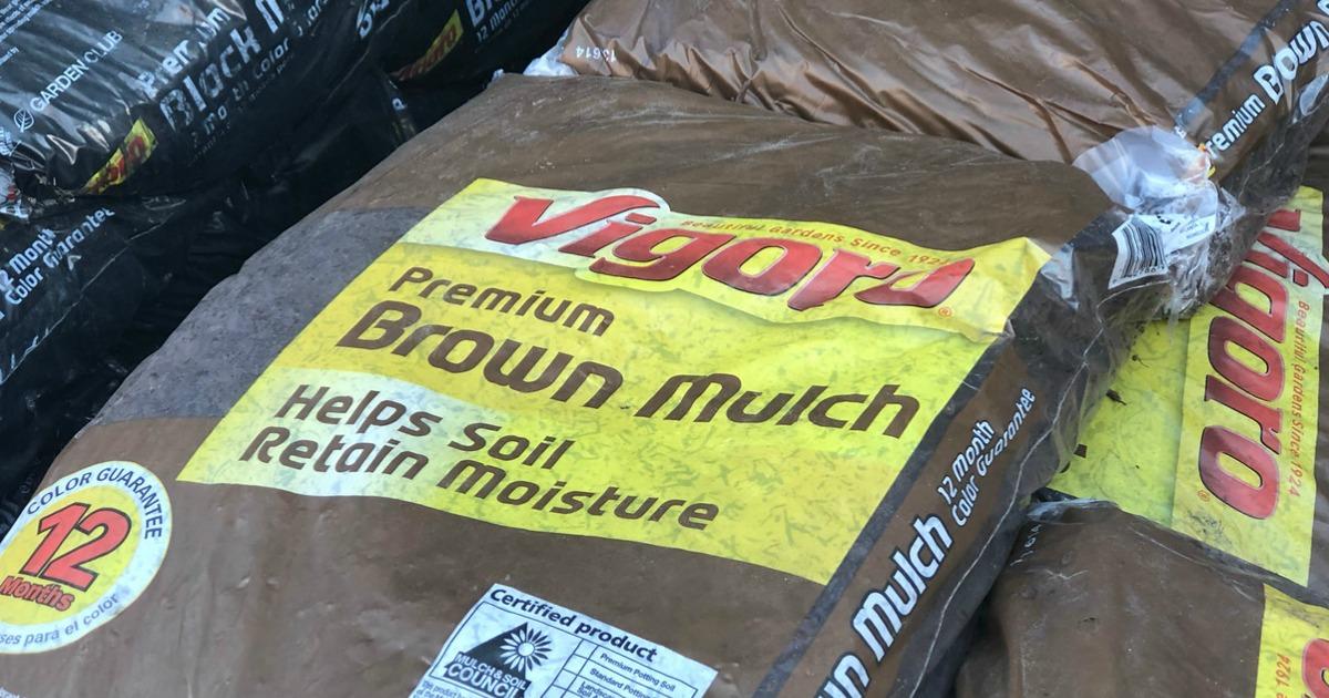 big bags of brown mulch