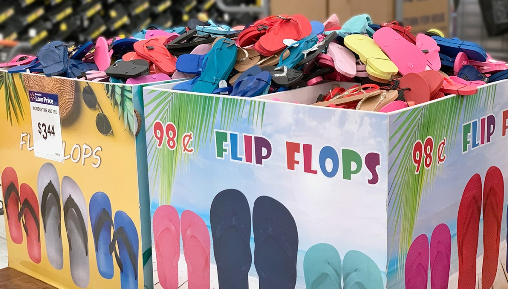 cheap flip flops — large bin of 98¢ flip flops at walmart