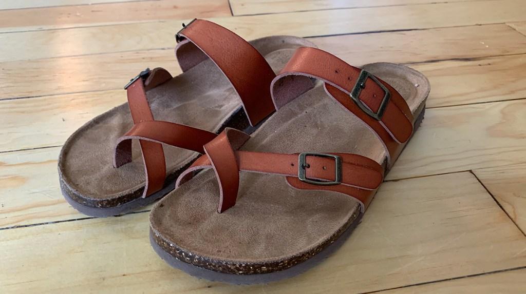 walmart shoes — tan cross strap faux leather sandals