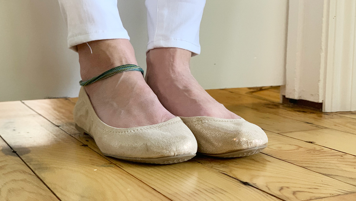 walmart shoes — beige scrunch back flats