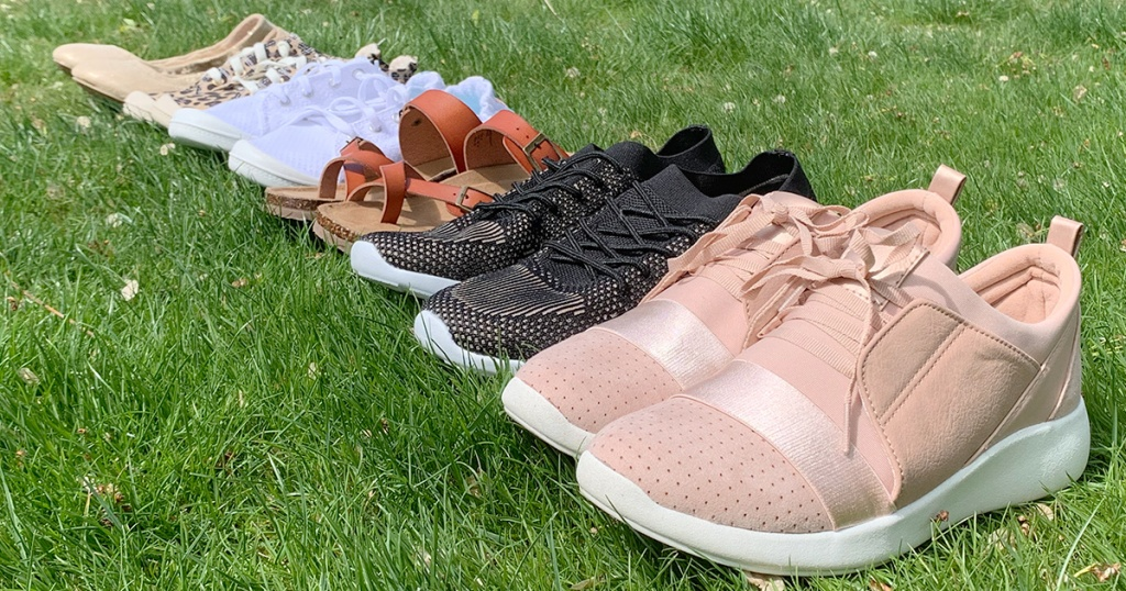 assortment of walmart sneakers, flats, and sandals
