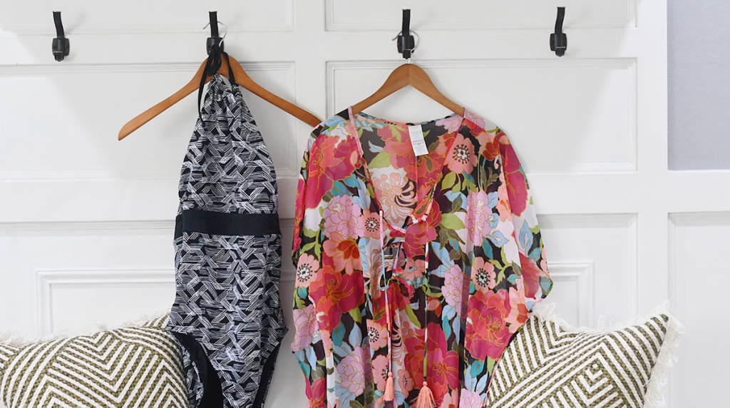 walmart wednesday – time and tru swimwear and coverup hanging on wall