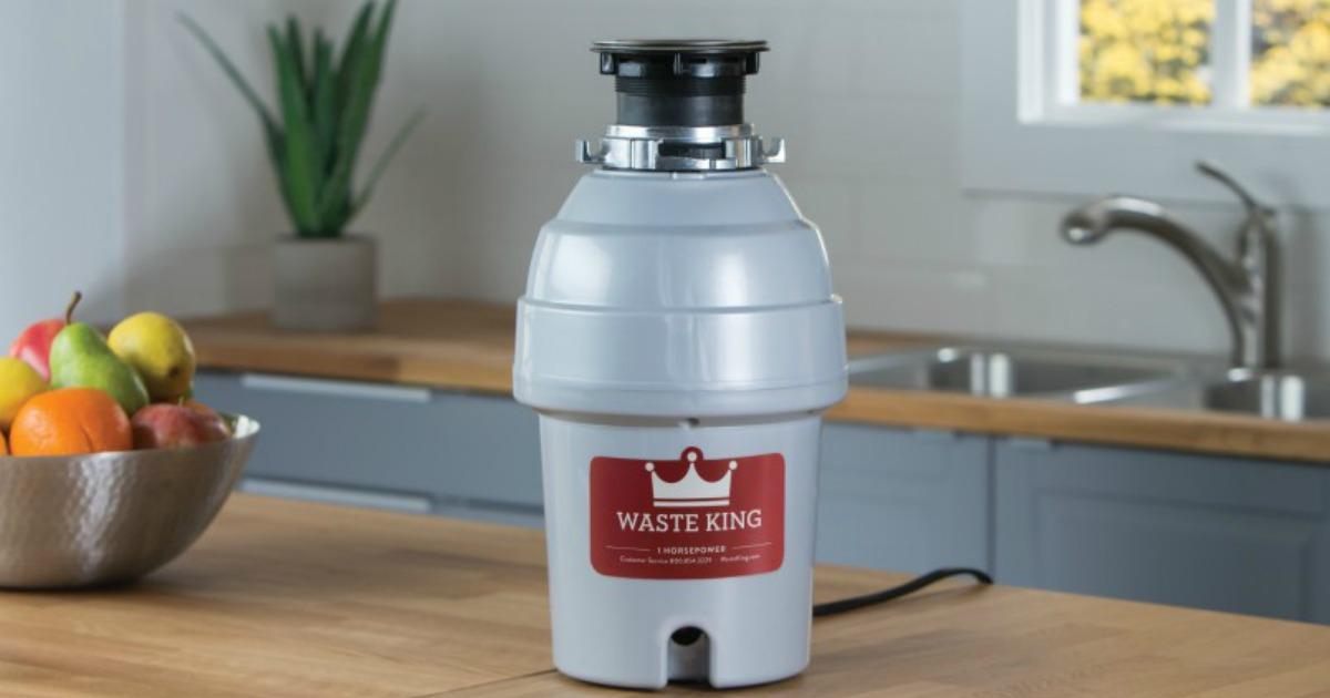 waste king garbage disposal on kitchen counter