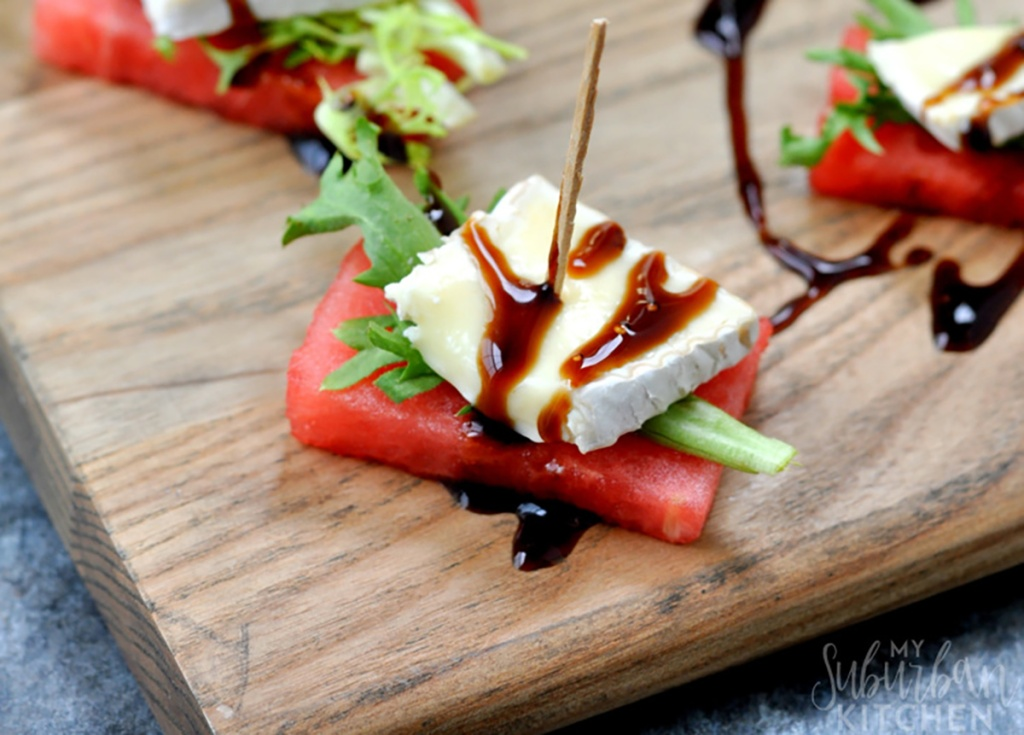 watermelon brie bites on tray