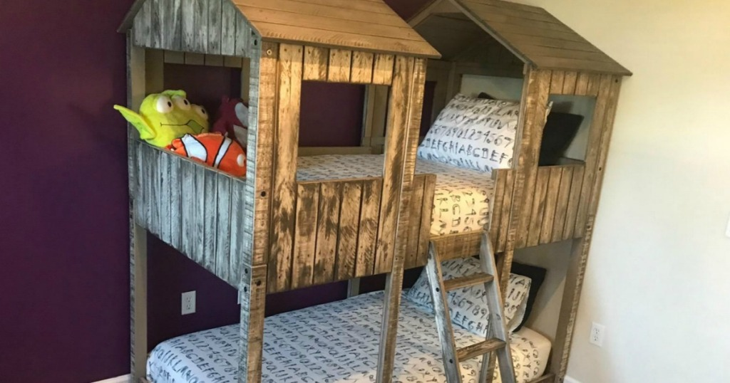 wooden house bunk bed