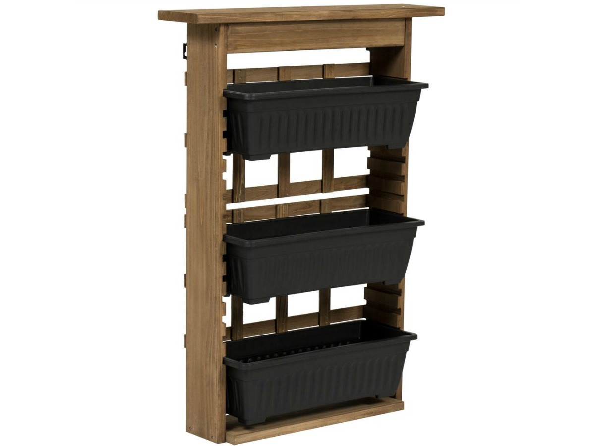 three tier wooden planter with black planter boxes