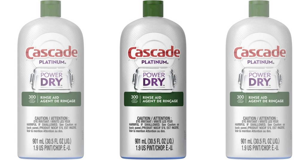 3 bottles of Cascade Platinum Rinse Aid