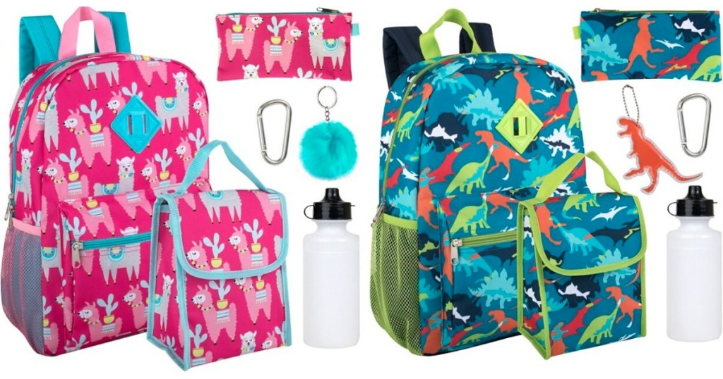 Backpack sets that include a lunch sack, water bottle and more