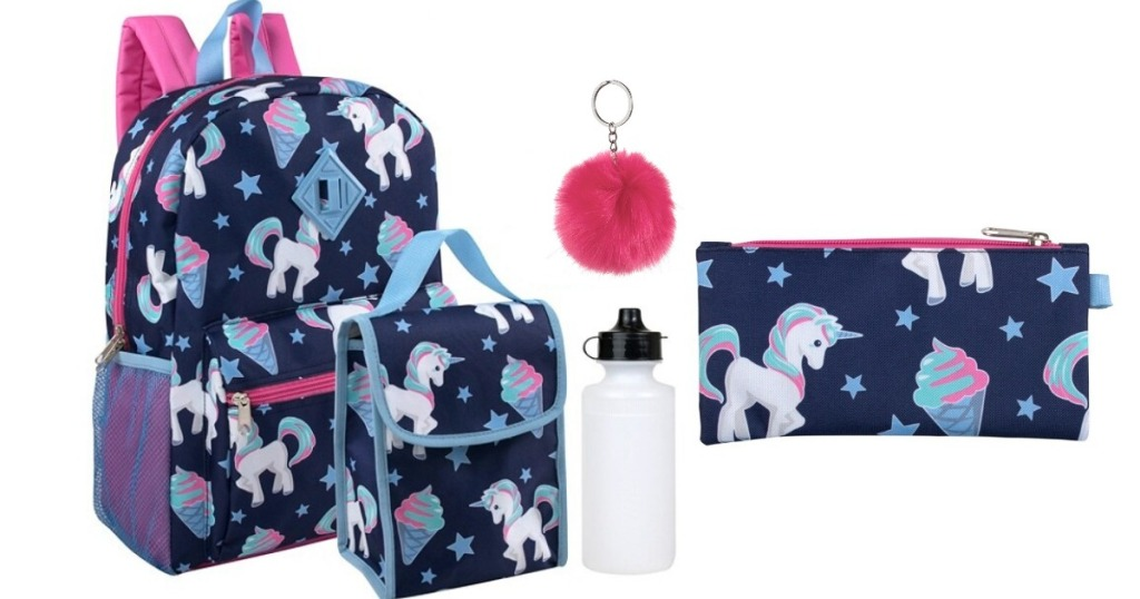 Navy blue backpack with unicorns on it with a lunch sack, water bottle and pencil holder