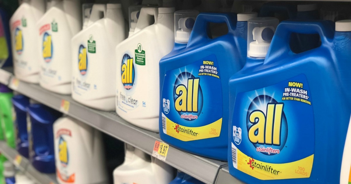 bottles of all liquid detergent sitting on a Walmart store shelf