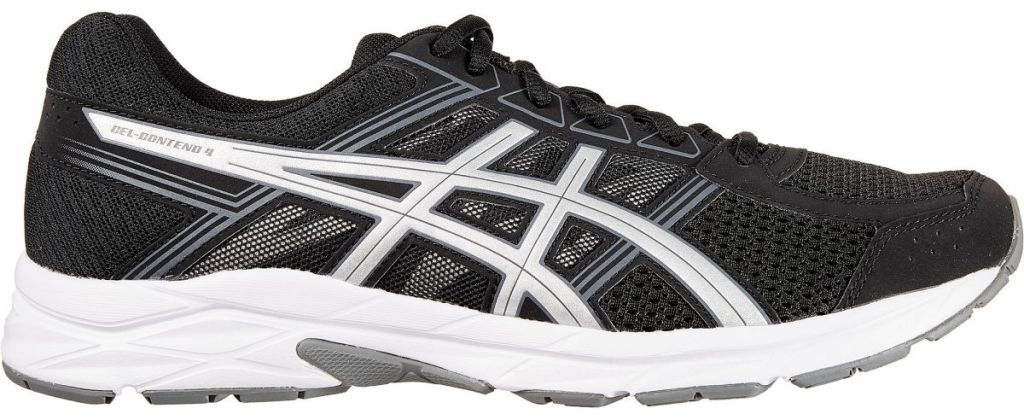 Black, white, and grey ASICS Men's GEL-Contend 4 Running Shoes