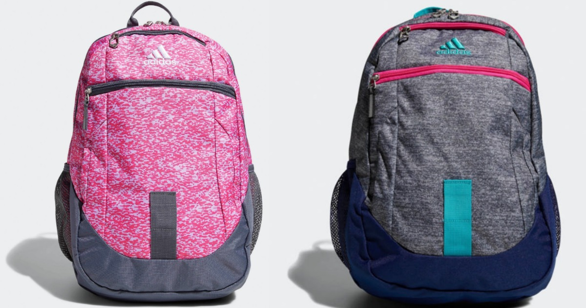 pink and blue and grey adidas backpacks