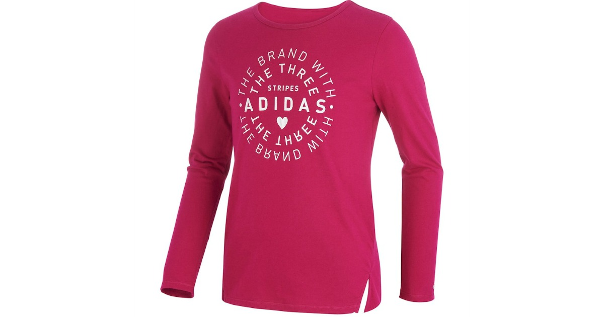 bright pink adidas girls long sleeve shirt with side slits