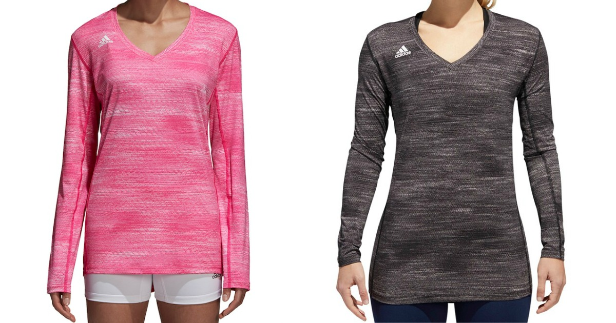 adidas womens volleyball jerseys in pink and black on female models