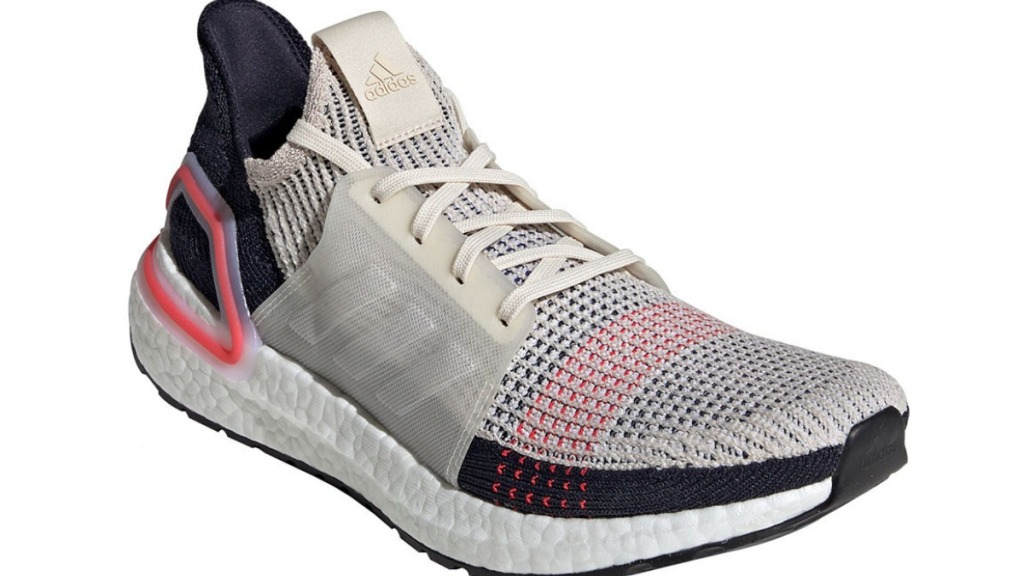 Adidas Ultraboost 19 running shoes in white, red, black from side view